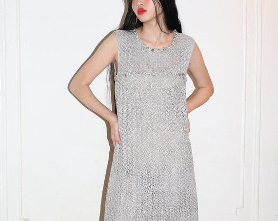Shimmery 1960's heavy silver metallic thread crochet hand knit chainmail net rhinestone crystal glass go-go mod embellished dress frock gown