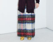Textural tartan late 1950 39 s high-end hairy mohair and wool intricate plaid fully lined high rise straight pencil long maxi skirt