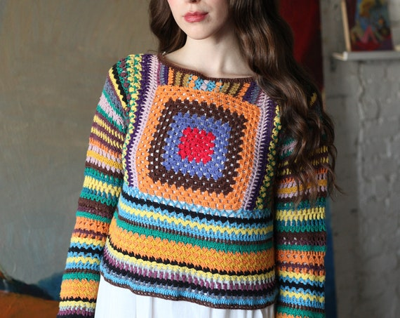 OOAK vibrant 70's technicolor cotton hand crochet granny square afghan knit see through light weight blouse sweater jumper top shirt