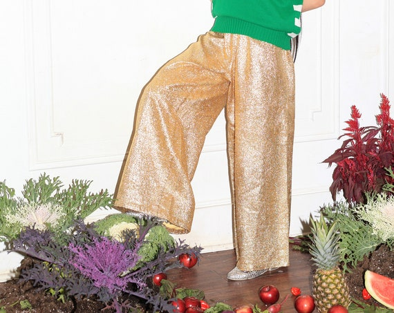 Shining vintage 1960's woven gold lurex extra wide leg full length culottes drawstring one size flowing disco mod trousers pants jeans