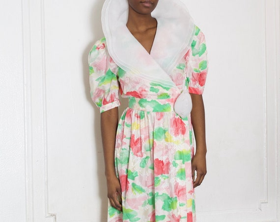 Silky sweet 80's vibrant pastel watercolor painted print floral lux silk wrap front large layered organza collar and puff sleeve dress frock