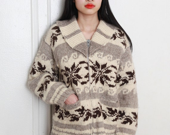 OOAK handmade 60's thick hand knit wool wave and floral Alaskan cowichan unique collar boxy UNISEX zip front cardigan jacket sweater jumper