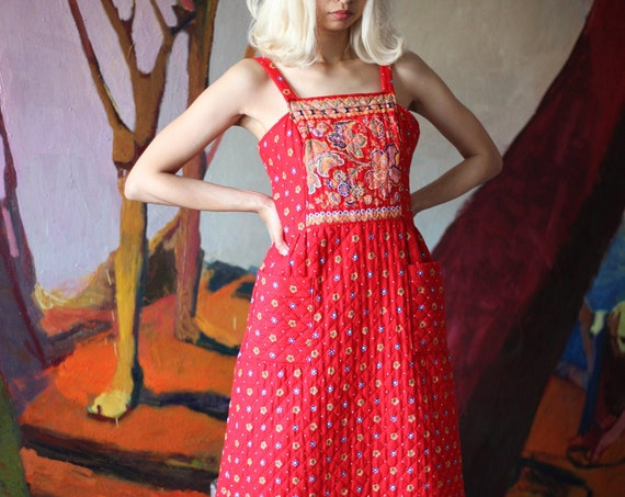 Pristine vintage late 1960's red floral quilted thick pinafore tent skirt textured warm layering piece paisley psychedelic maxi dress
