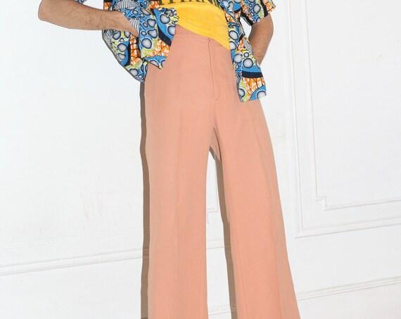 """Unique clay pink UNISEX 32"""" 70's Levi's stretch knit textured simple minimal tan neutral comfortable staple trouser pants slacks"""
