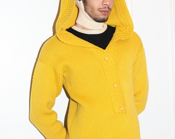 Avant garde UNISEX 60's quality soft sunshine golden yellow cardigan huge oversized hood fitted luxury knit knitwear sweater jumper top