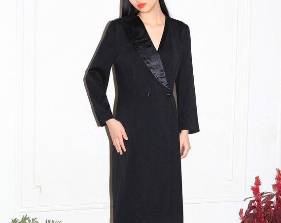 Chicest JEAN CLAUDE PARIS 80's designer lightweight wool asymmetrical satin collar double breastedl long sleeve suit tuxedo dress frock gown