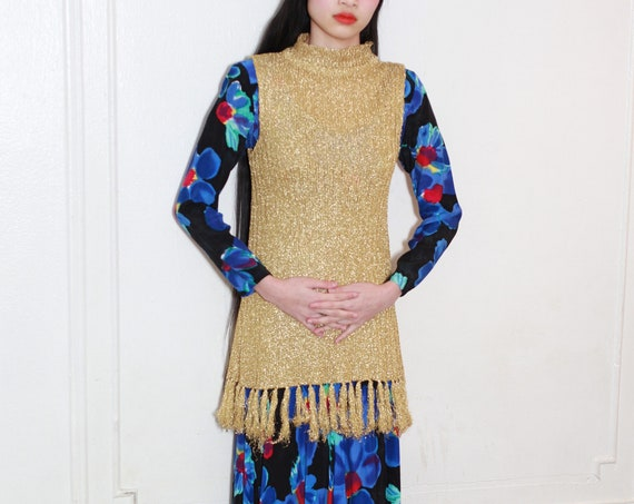 Shiny metallic 60's golden lurex ribbed knit mock neck shimmering sleeveless long tunic fringe tassel blouse shirt mini dress vest coverup
