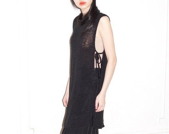 D&G Dolce and Gabbana 90's designer couture black slinky open knit crochet side tie draped sleeveless sheer overlay vest dress blouse tunic