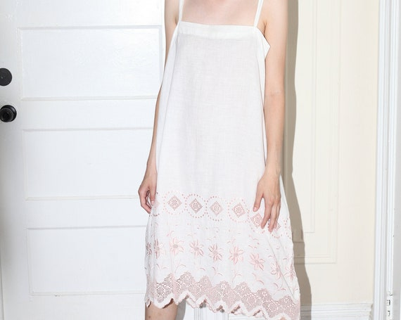 RARE 1920's handmade white cotton pink embroidered eyelet lace boxy open trapeze style tent minimal layered romantic slip dress negligee