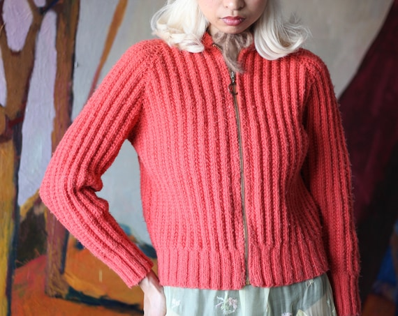 RARE 1940's handmade vintage antique 1940's hand knit coral salmon orange semi-cropped collar TALON zipper textured cardigan sweater jumper