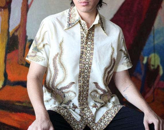 Intriguing UNISEX late 60's off white cream phoenix bird flame intricate block print Southeast Asian button up shirt blouse top