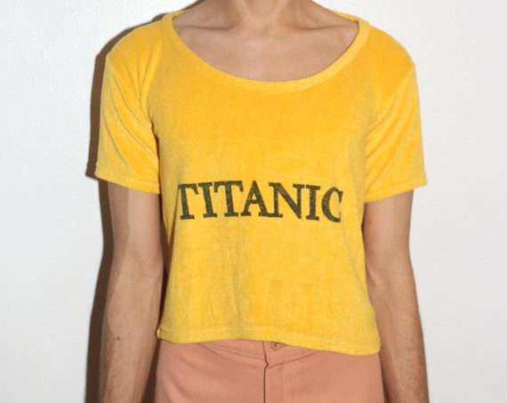 WOW UNISEX rare 70's mysterious 'TITANIC' golden yellow fuzzy terry cloth U neck semi-cropped sport tee tshirt shirt blouse top