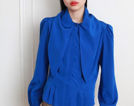 Chic avant garde 80's dark cobalt blue silky lightweight long balloon sleeve puff shoulder button front pleated flattering blouse shirt
