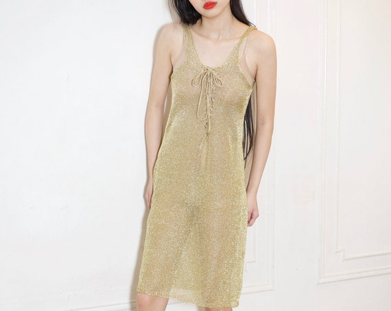 Shiny 90's does 70's gold wool metallic knit wire overlay sheer see through chainmail lace up front pencil knee length knit dress frock gown