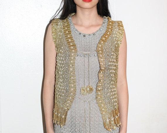 Regal vintage 1970's gold metallic wire crochet hand knit cage net beaded embellished tie front tassel vest blouse jacket