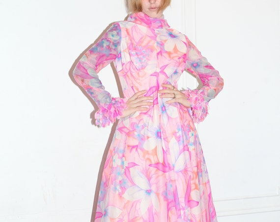 Shining late 60's bright pastel pinks floral sheer chiffon feather layered sleeve empire waist ruffle full skirt maxi dress frock gown