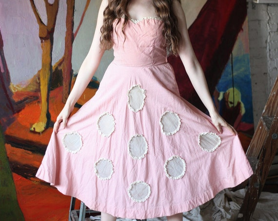 OOAK RARE antique late 40's soft pink gingham cotton lace strapless sheer transparent organdy polka dot below the knee dress frock tunic