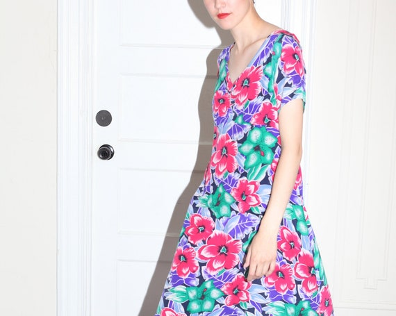 Vivid OOAK 1940's handmade softest silk multicolored airbrushed hibiscus flower print ruched neckline ankle-length maxi dress frock