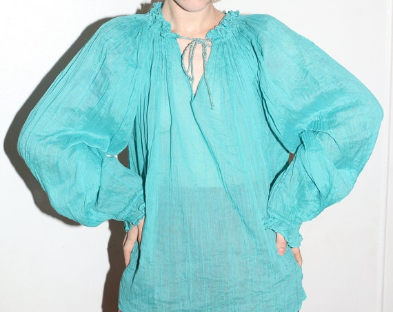 Flowing late 70's light teal blue thin gauze cotton gathered neck huge oversized balloon sleeve wide trapeze semi-sheer blouse top shirt