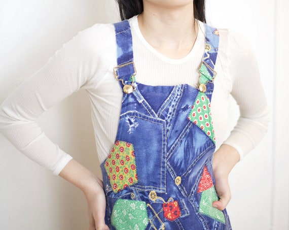 Favorite RARE 70's handmade blue patched overall printed cotton canvas fitted side zip flared leg narrow pinafore romper dungaree overalls