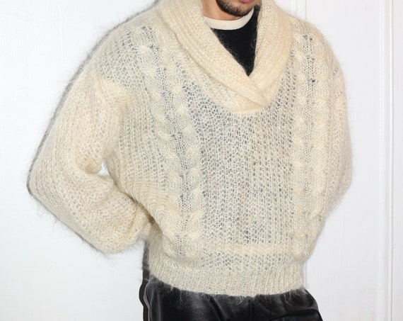 Luxury Italian 80's softest ever cream fluffy mohair hand knit loose crochet open knit balloon sleeve oversized sweater jumper top shirt