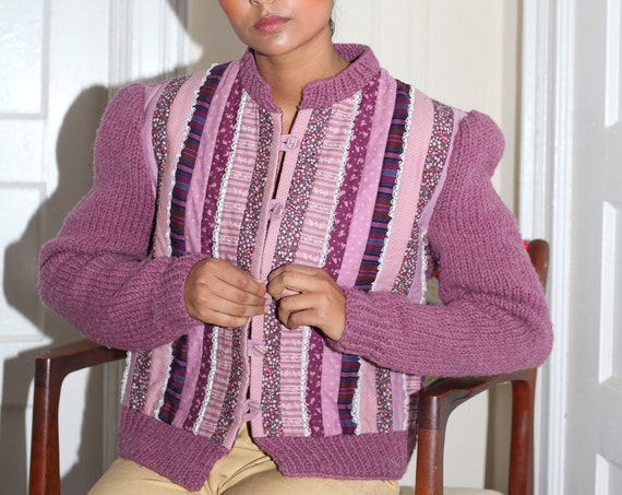 Cozy handmade vintage late 1970's hand knit purple wool and quilted patchwork scrap button down puff sleeve cardigan sweater jumper