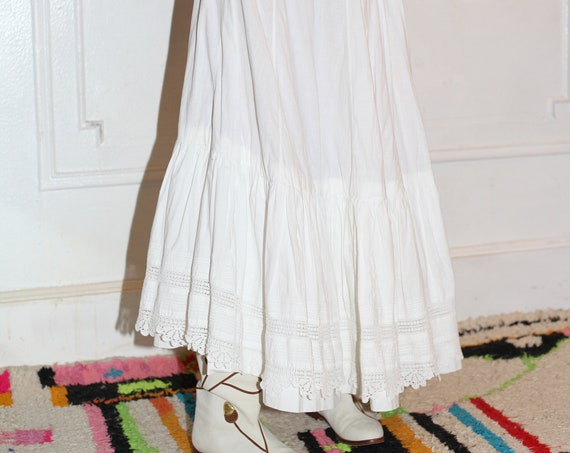 Angelic antique vintage Victorian white cotton crochet lace bottom tiered layered swinging handmade rope cord tie waist full maxi skirt