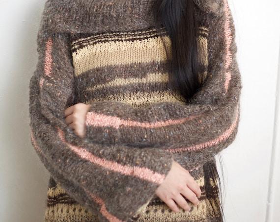 Most beautiful fiber art late 70's hand knit OOAK silk fiber wool angora multi knit oversized bell sleeve pullover sweater blouse