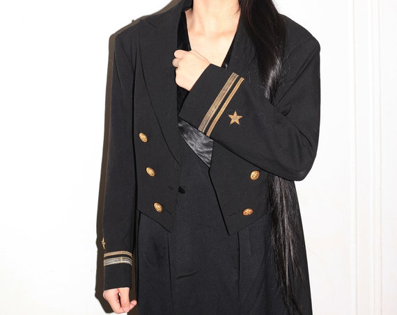 RARE antique vintage early 1940's black wool long tail open front gold detailing boxy cropped blazer tuxedo jacket