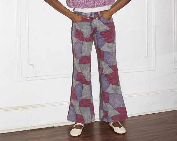 "Fun 26"" 1960's purple tones cotton denim patchwork quilt print mid-rise flared relaxed fit vibrant graphic pattern trousers jeans pants"