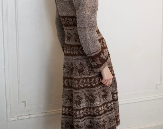 RARE 1970's hand knit soft Bolivian alpaca wool taupe and brown animal floral motif fitted waist flared skirt below the knee dress frock