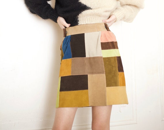 Lovely vintage late 1960's rainbow soft suede leather patchwork quilted high waisted side snap a line mini go go mod skirt