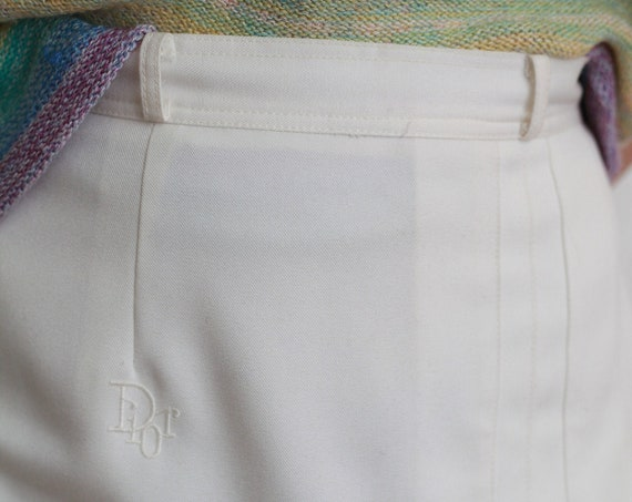Angelic DIOR late 70's designer white pleated monogram couture high end pleated high waisted knee-length skirt