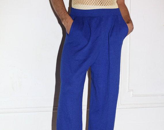 ST JOHN luxury UNISEX 90's cobalt blue wool silk knit textured elastic waist simple minimal comfortable staple trouser pants slacks