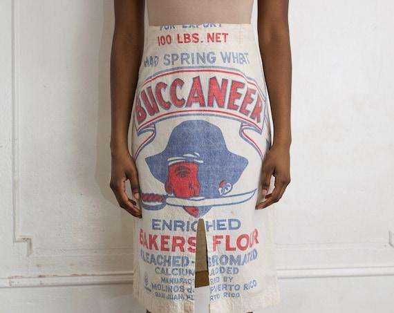 "RARE OOAK 25"" 1950's handmade flour sack cotton pirate face sword pencil slit front printed picture graphic unique skirt"
