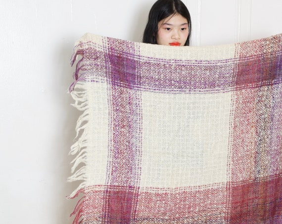 50's lux mohair fluffy small sized sofa blanket purple tartan plaid fringe hand-loomed hand knit quality blanket throw cover or shawl scarf