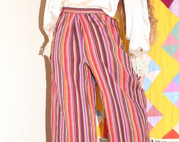 Airy CHRISTIAN DIOR UNISEX vintage retro early 1980's designer cotton gauze purple and red striped high rise super wide leg trouser pants