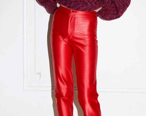 Absolute best late 70's metallic chili pepper red stretchy flattering fitted disco high waisted staple trouser pants slacks hot pants