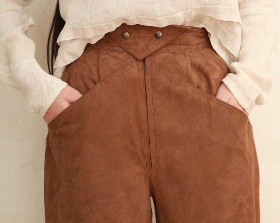 MAGLIA late 70's - 80's designer softest super light weight suede leather super high waisted zip staple trouser pants slacks hot pants