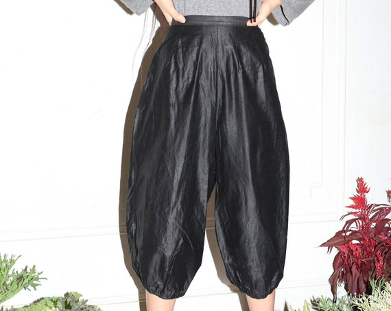 """RARE PRISTINE antique 22"""" Early 20th c black thick polished cotton button bib butt flap balloon pedal pusher bloomer trousers pants"""
