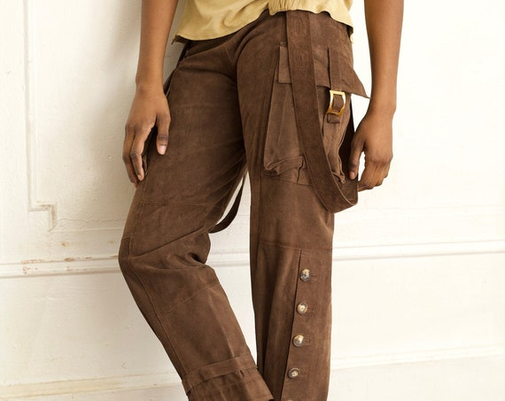 Italian Fiocchi snap avant garde 80's couture chocolate brown suede leather low rise suspender cargo pockets trousers pants