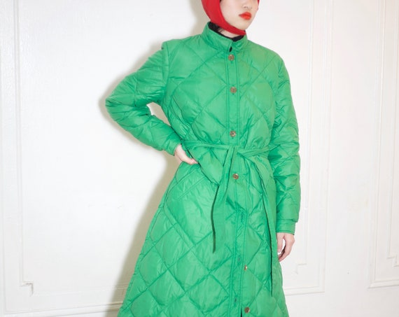 Coziest UNISEX 80's EDDIE BAUER goose down quilted kelly green puffer short mandarin collar tie waist swing style A line puffy jacket coat
