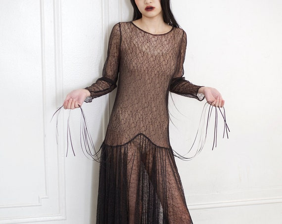 Very special 80's does 20's black lace sheer overlay drop waist ribbon detail scoop back wide skirt ankle length dress frock gown