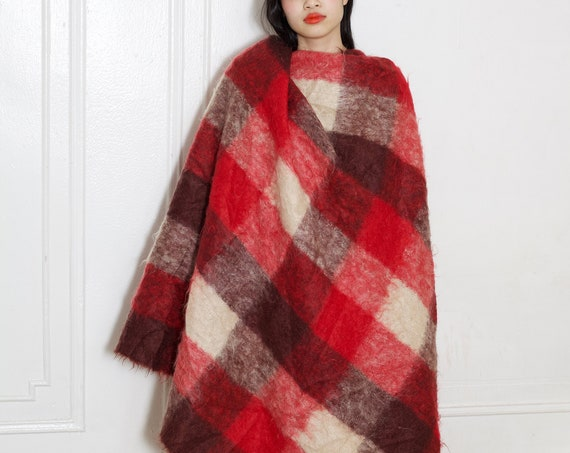 Staple 50's mohair furry twin sized sofa blanket throw cuddle on the couch red gingham hand-loomed hand knit quality blanket throw cover
