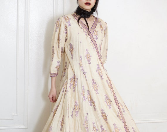 Lovely unique 70's silk cotton Indian light tan and purple gold block print purple embroidery full wrap front full skirt midi dress frock