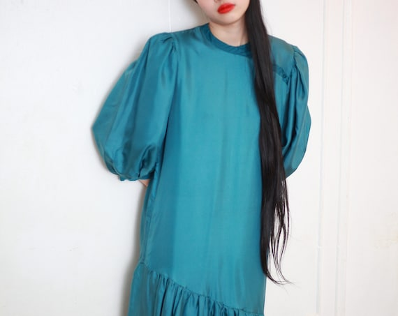 Silk beauty 80's designer luxury shimmery teal silk oversized balloon sleeve drop waist asymmetrical gathered skirt midi dress frock gown
