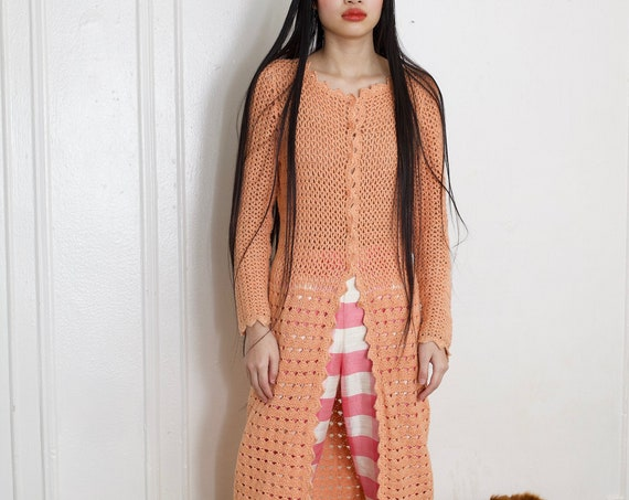 OOAK handmade 60's orange creamsicle crochet cotton open knit scalloped edge long mid calf ling sleeve cardigan overlay dress sweater