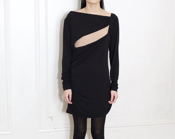 PIERRE BALMAIN Y2K designer black avant garde large cutout breast ruched body con cotton jersey scrunched simple chic goth mini dress frock