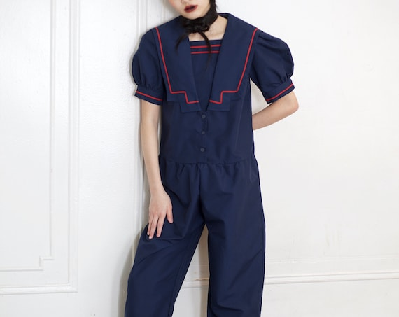 Sweetest minimal 80's navy blue red piping sailor collar puff balloon sleeve balloon pants bloomer jumpsuit romper playsuit catsuit overall