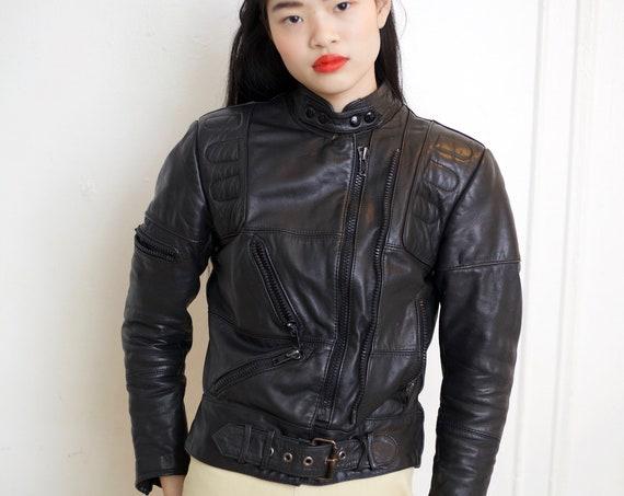 Hein Gericke for Harley Davidson 80s - 90's designer black leather avant garde motorcycle zipper many pocket unique lined belted jacket coat